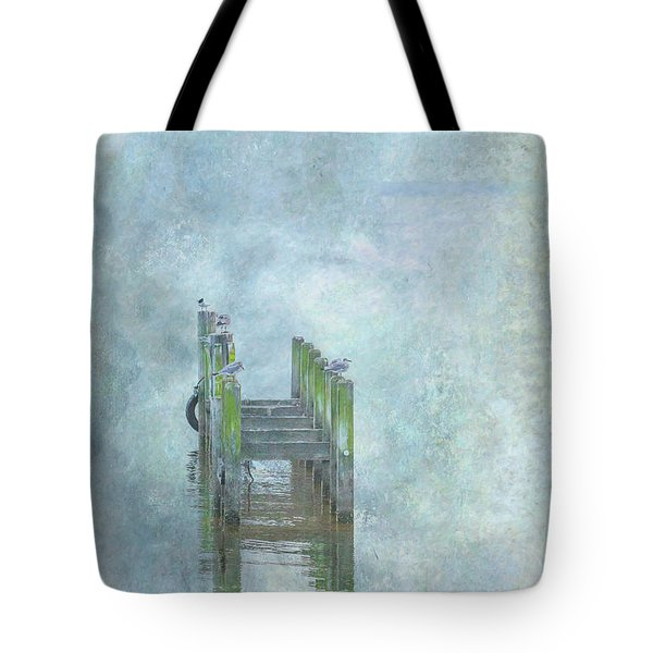 Tote Bag featuring the digital art Birds On Abandoned Dock by Randy Steele