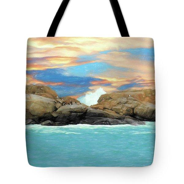 Birds On Ocean Rocks Tote Bag