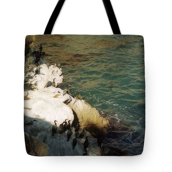 Birds On Rock Above Pacific Ocean Tote Bag