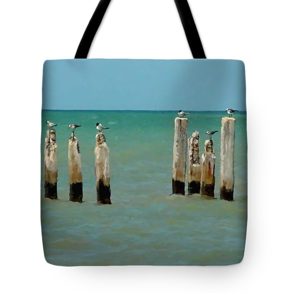 Tote Bag featuring the painting Birds On Sticks by David  Van Hulst