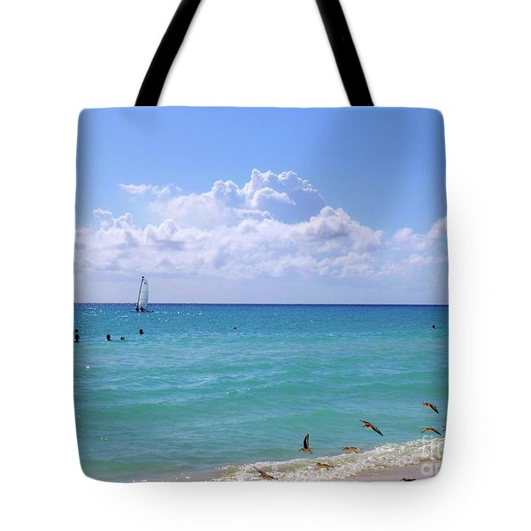 Tote Bag featuring the photograph Birds On The Beach M4 by Francesca Mackenney