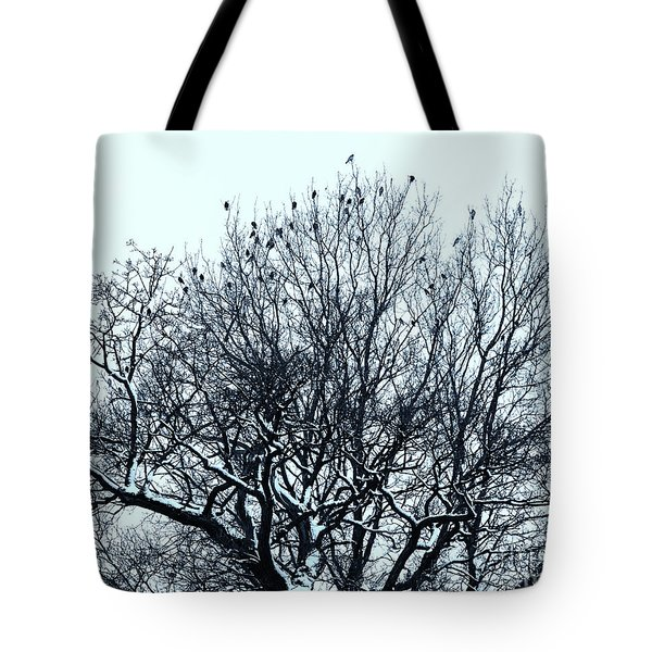 Birds On The Tree Monochrome Tote Bag