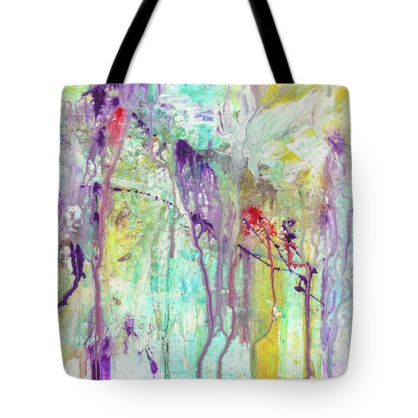 Birds On The Wire - Colorful Bright Modern Abstract Art Painting Tote Bag