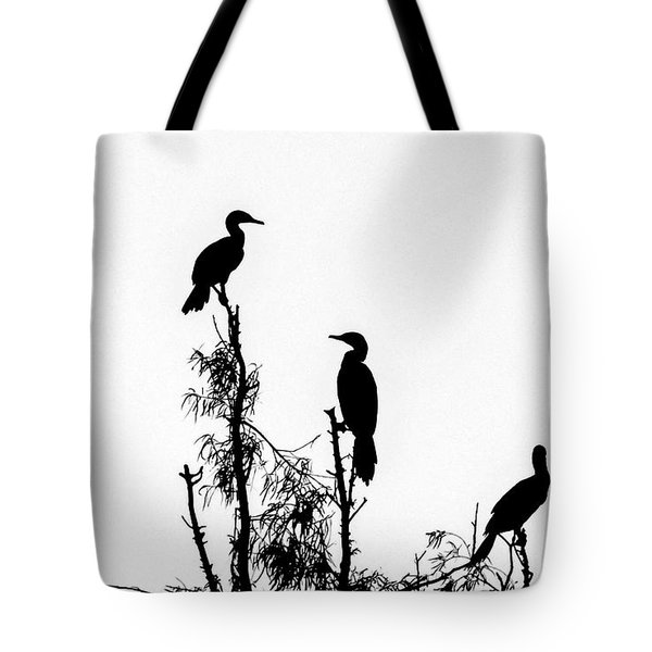 Birds Perched On Branches Tote Bag