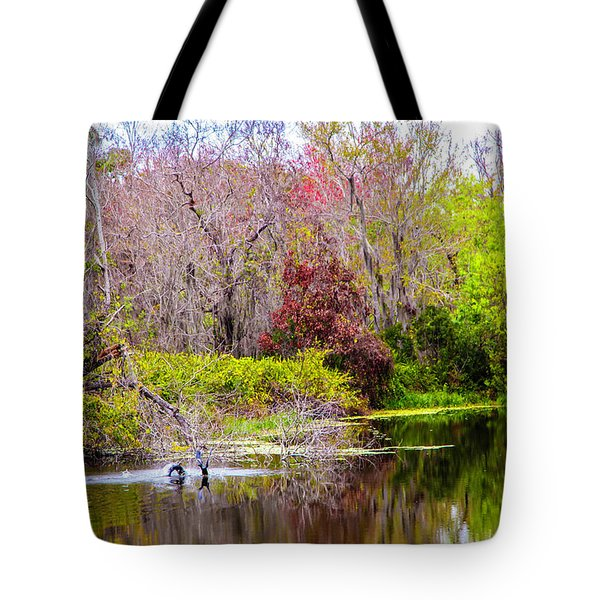 Tote Bag featuring the photograph Birds Playing In The Pond 3 by Madeline Ellis