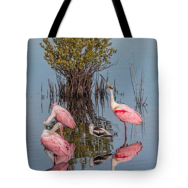 Birds, Reflections, And Mangrove Bush Tote Bag