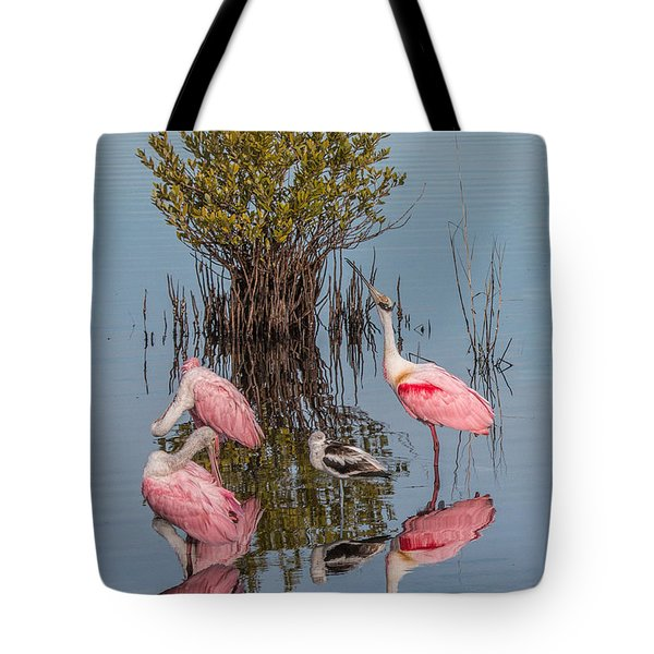Birds, Reflections, And Mangrove Bush Tote Bag