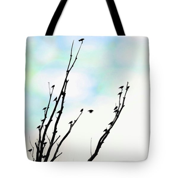 Tote Bag featuring the photograph Birds Silhouette In Tree Blue by Jennie Marie Schell