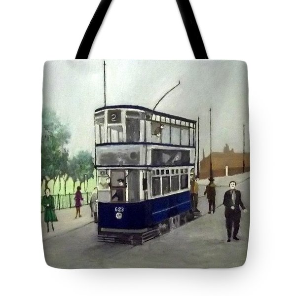 Birmingham Tram With Figures Tote Bag