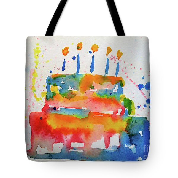 Tote Bag featuring the painting Birthday Blue Cake by Claire Bull