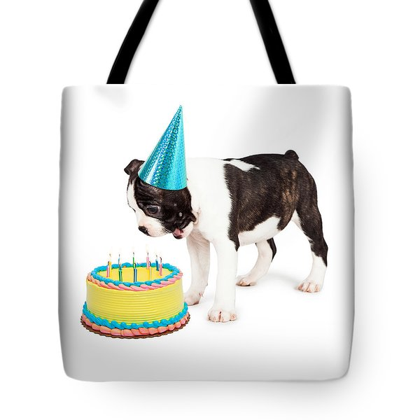 Birthday Dog Blowing Out Candles Tote Bag