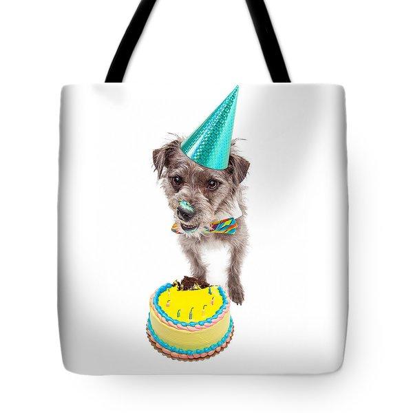 Birthday Dog Eating Cake Tote Bag