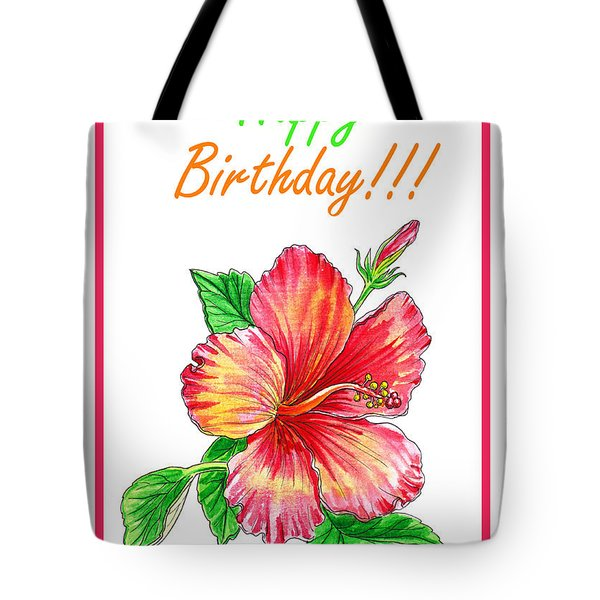 Birthday Hibiscus Tote Bag