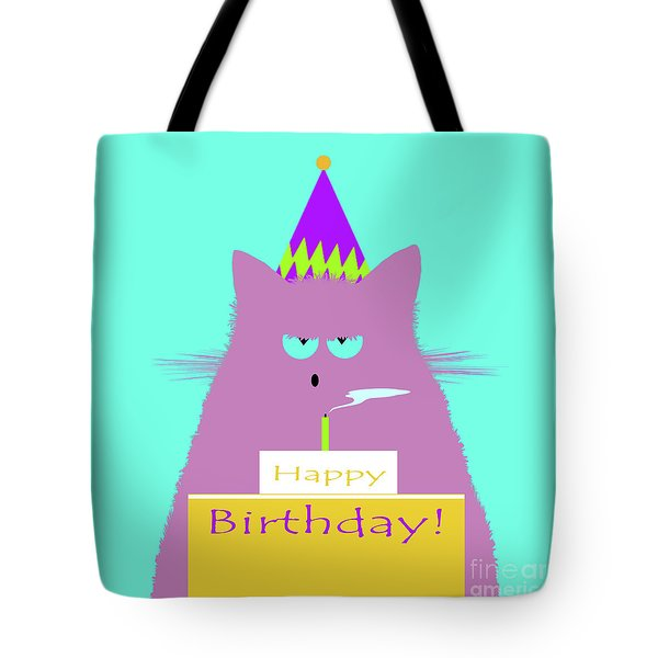 Birthday Lilac Cat Tote Bag