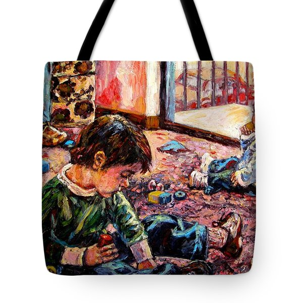 Tote Bag featuring the painting Birthday Party Or A Childs View by Kendall Kessler