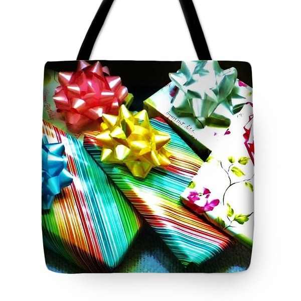 Birthday Presents Tote Bag by Denise Fulmer