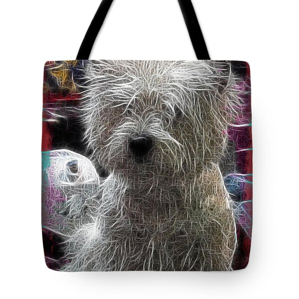 Tote Bag featuring the photograph Bishon Frise by EricaMaxine  Price