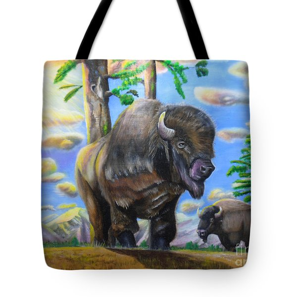 Tote Bag featuring the painting Bison Acrylic Painting by Thomas J Herring