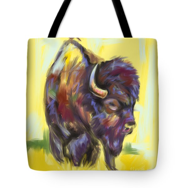 Tote Bag featuring the painting Bison And Bird by Go Van Kampen