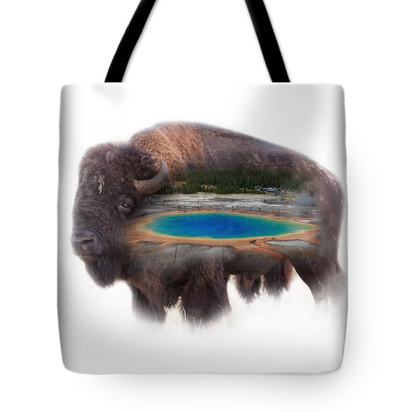 Bison And Great Prismatic Spring Double Exposure Tote Bag