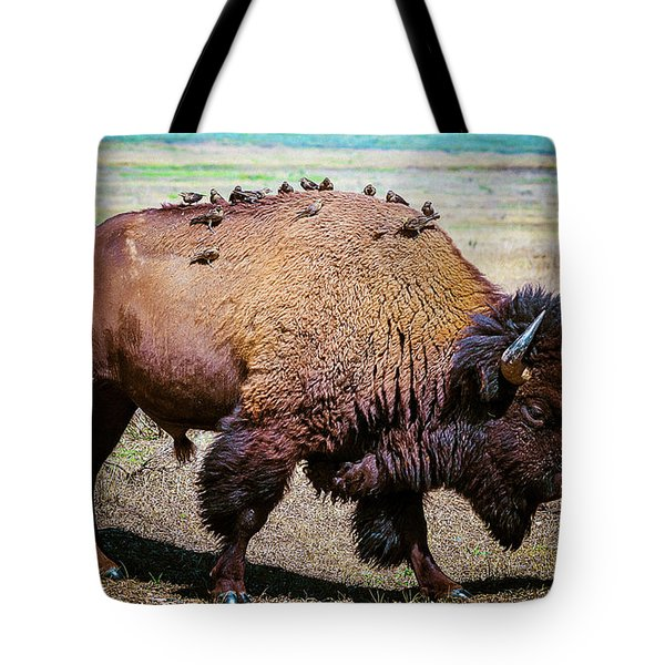 Tote Bag featuring the photograph Bison And The Birds by Mary Hone