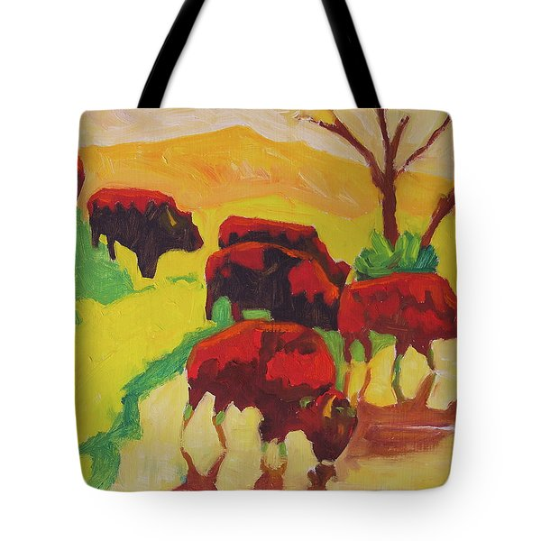 Bison Art Bison Crossing Stream Yellow Hill Painting Bertram Poole Tote Bag by Thomas Bertram POOLE
