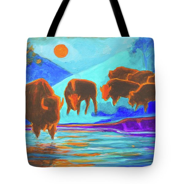 Bison Art - Seven Bison At Sunrise Yosemite Painting T Bertram Poole Tote Bag by Thomas Bertram POOLE