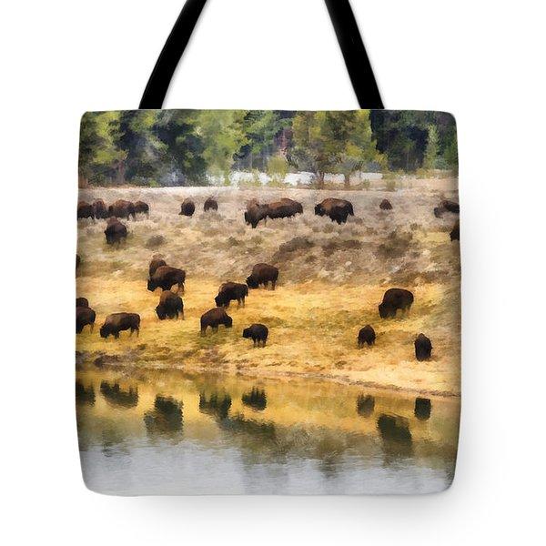 Bison At Indian Pond Tote Bag