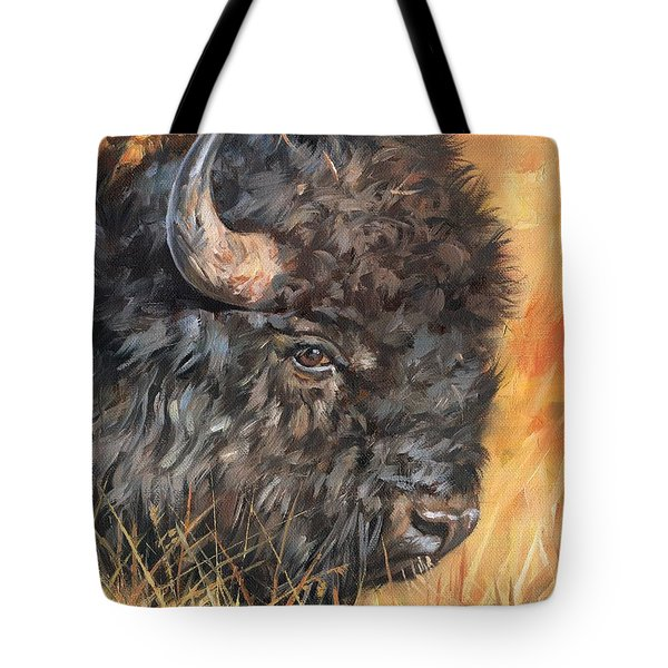 Tote Bag featuring the painting Bison by David Stribbling