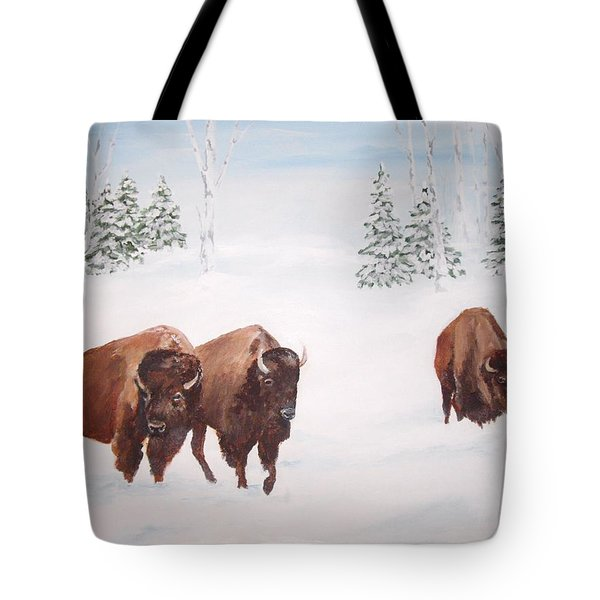 Bison In The Snow Tote Bag by Ellen Canfield