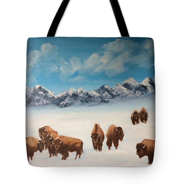 Tote Bag featuring the painting Bison In The Tetons by Ellen Canfield