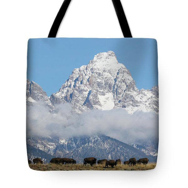 Bison In The Tetons Tote Bag