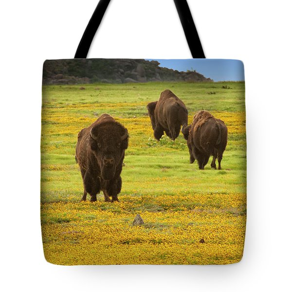 Bison In Wildflowers Tote Bag