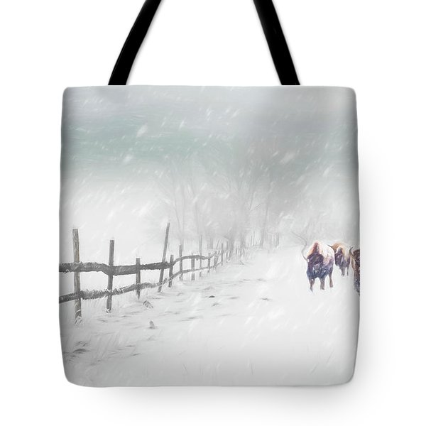 Bison In Winter Tote Bag