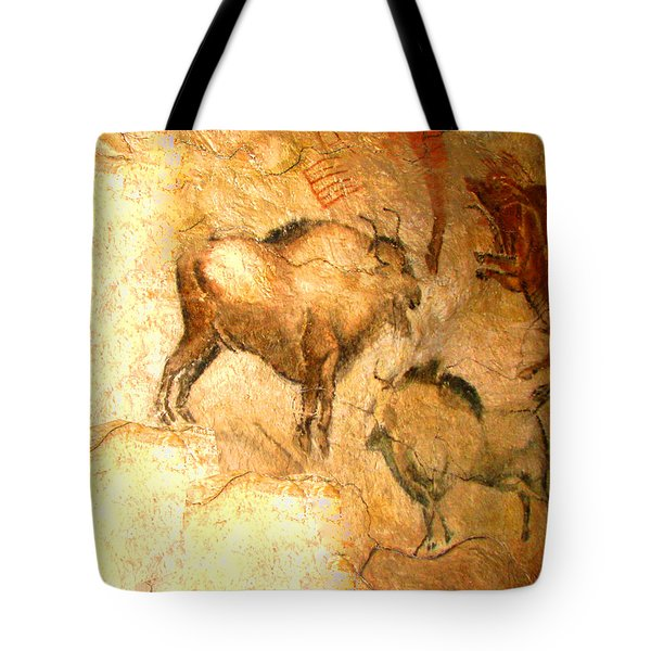 Tote Bag featuring the digital art Bison Of Altamira by Asok Mukhopadhyay