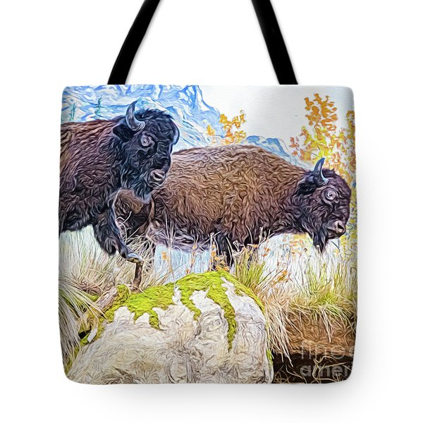 Bison Pair Tote Bag