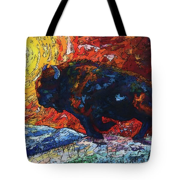 Tote Bag featuring the painting Bison Running Print Of Olena Art Wild The Storm Oil Painting With Palette Knife  by OLena Art Brand