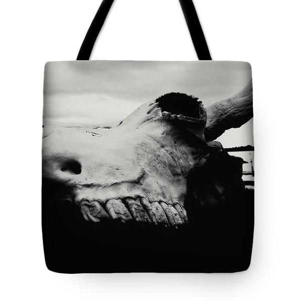 Bison Skull Black White Tote Bag