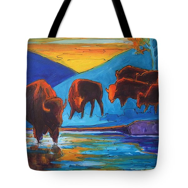 Bison Turquoise Hill Sunset Acrylic And Ink Painting Bertram Poole Tote Bag by Thomas Bertram POOLE