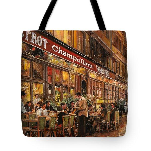 Bistrot Champollion Tote Bag by Guido Borelli