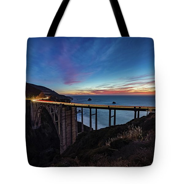 Bixby Bridge Sunset Tote Bag