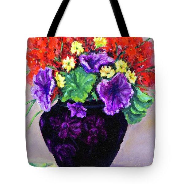 Black Amethyst Satin Vase Tote Bag