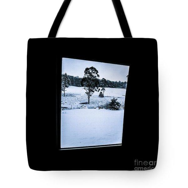 Black And Blue Snow Landscape Tote Bag