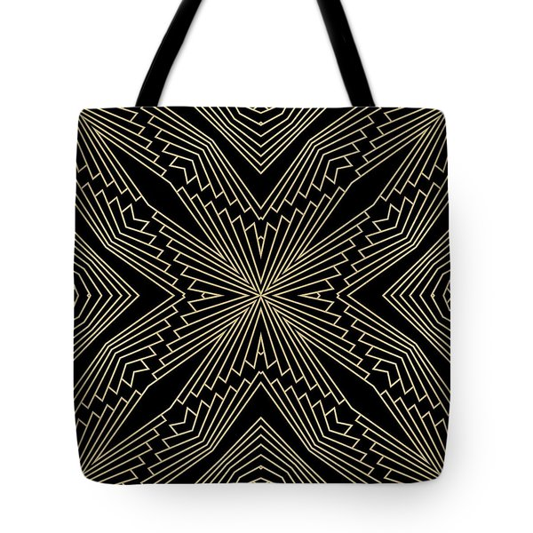 Black And Gold Art Deco Filigree 003 Tote Bag