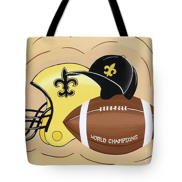 Black And Gold Champs Tote Bag by Valerie Carpenter