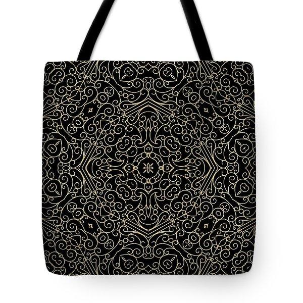 Black And Gold Filigree 002 Tote Bag