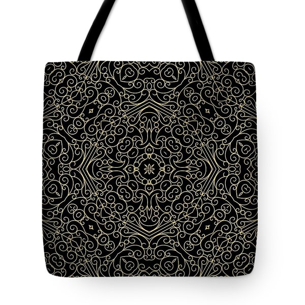 Black And Gold Filigree 002 Tote Bag