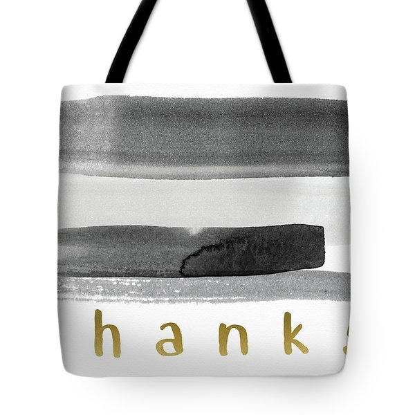 Black And Gold Watercolor Stripe Thank You- Art By Linda Woods Tote Bag