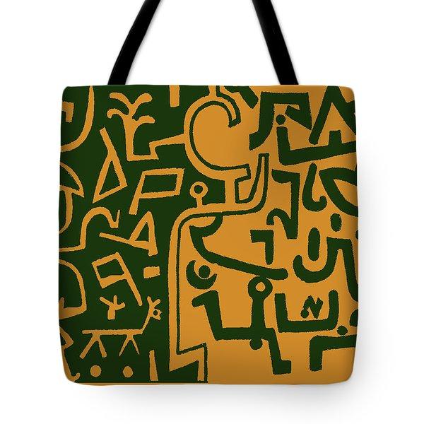 Tote Bag featuring the digital art Black And Orange Klee by Vagabond Folk Art - Virginia Vivier