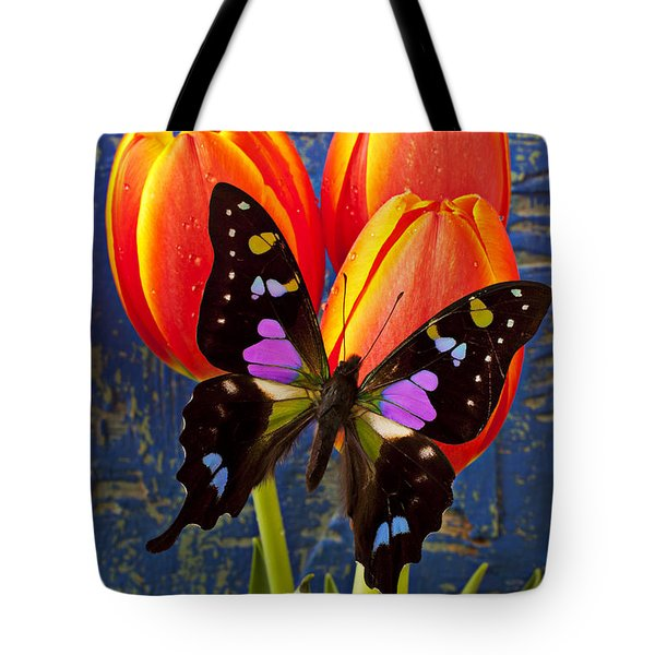 Black And Pink Butterfly Tote Bag by Garry Gay
